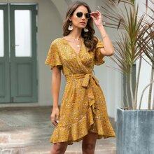 Floral Print Flutter Sleeve Asymmetrical Hem Belted Dress