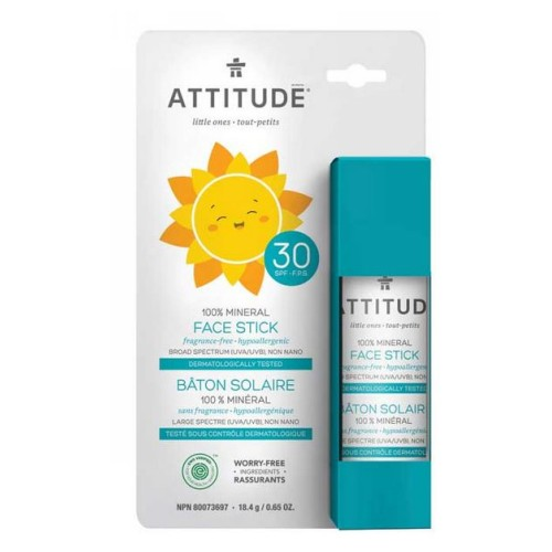 Family Face Stick Sunscreen SPF30 100% Mineral Fragrance Free 0.65 Oz by Attitude