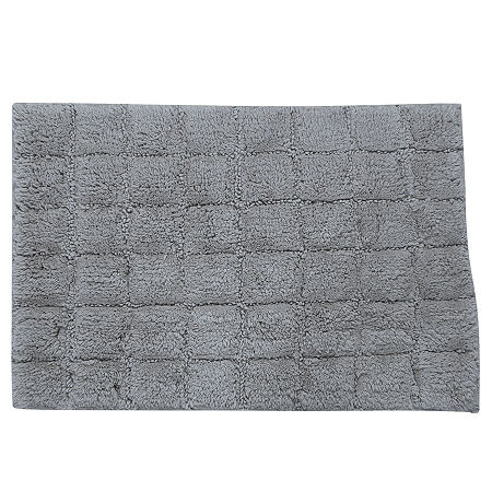 Castle Hill London Summer Tile Bath Rug Collection, One Size , Silver