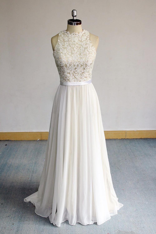 BMbridal Glamorous White Appliques Chiffon Wedding Dress Sleeveless Ruffles A-line Bridal Gowns On Sale