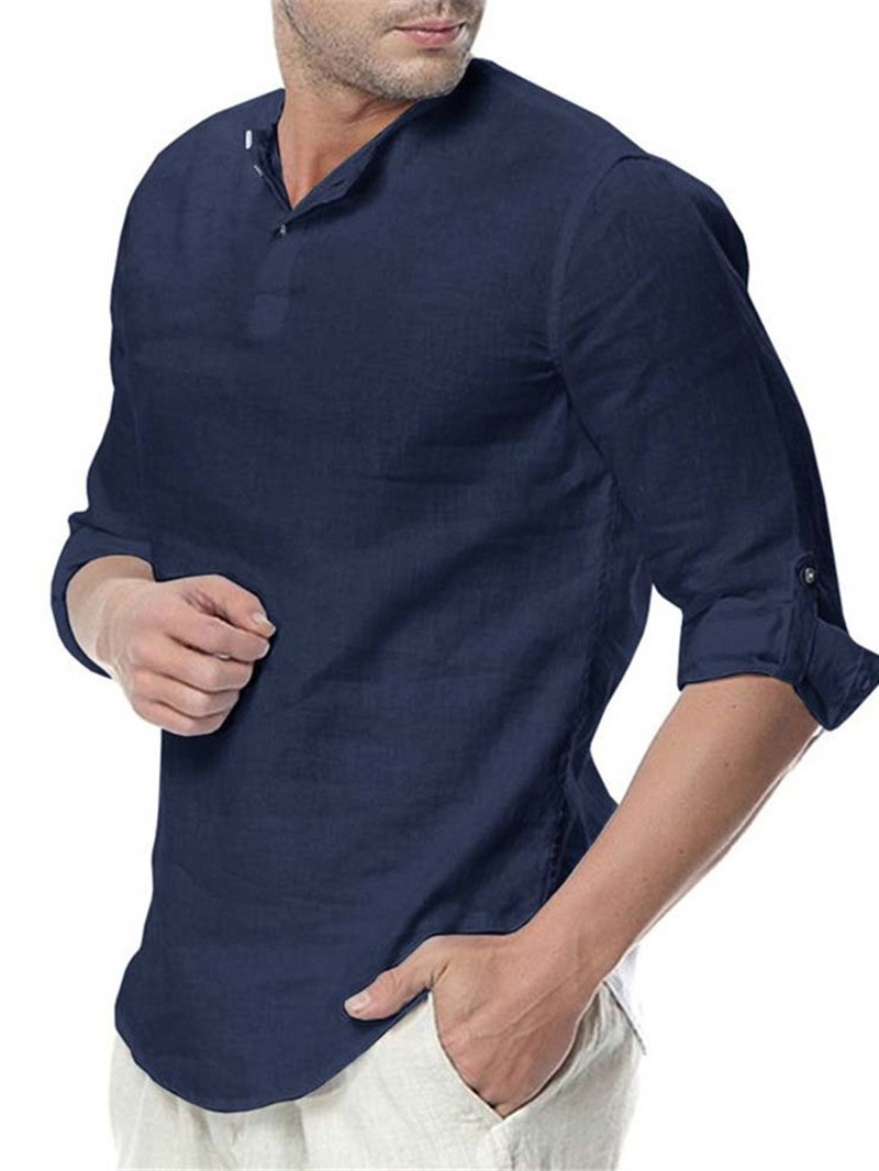 Ericdress Casual Plain Men's Slim Shirt