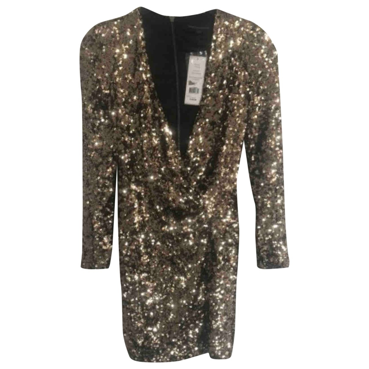 French Connection - Robe   pour femme en a paillettes - dore
