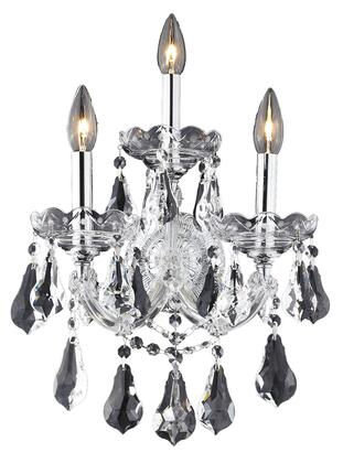 2801W3C/SS 2801 Maria Theresa Collection Wall Sconce W12in H16in E8.5in Lt: 3 Chrome Finish (Swarovski Strass/Elements