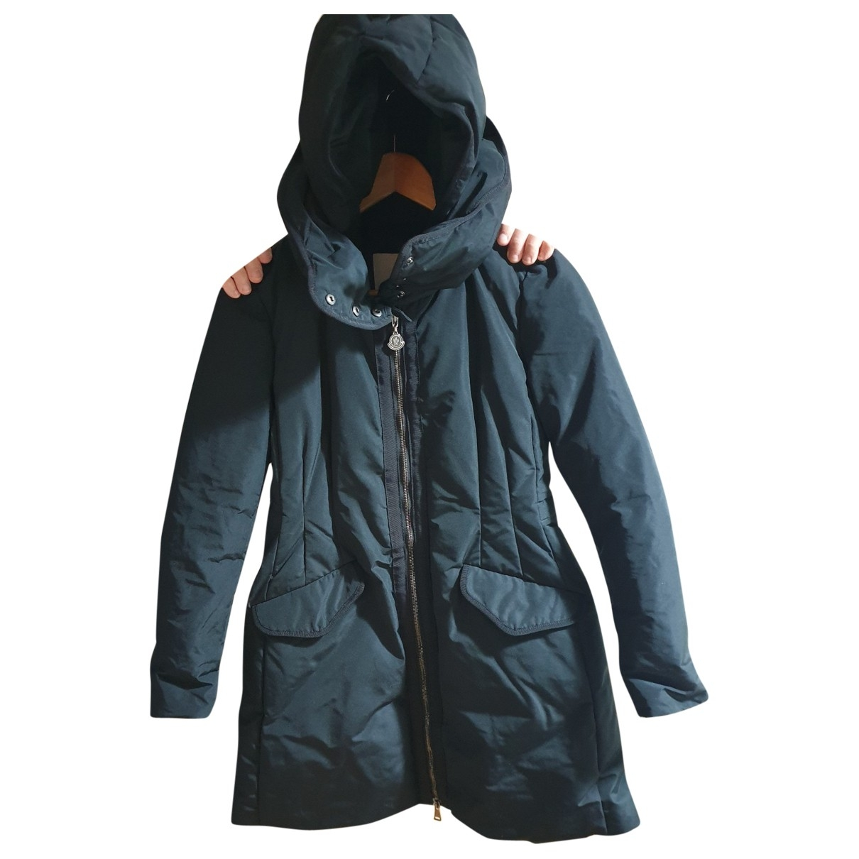Moncler Long Black coat for Women 36 FR