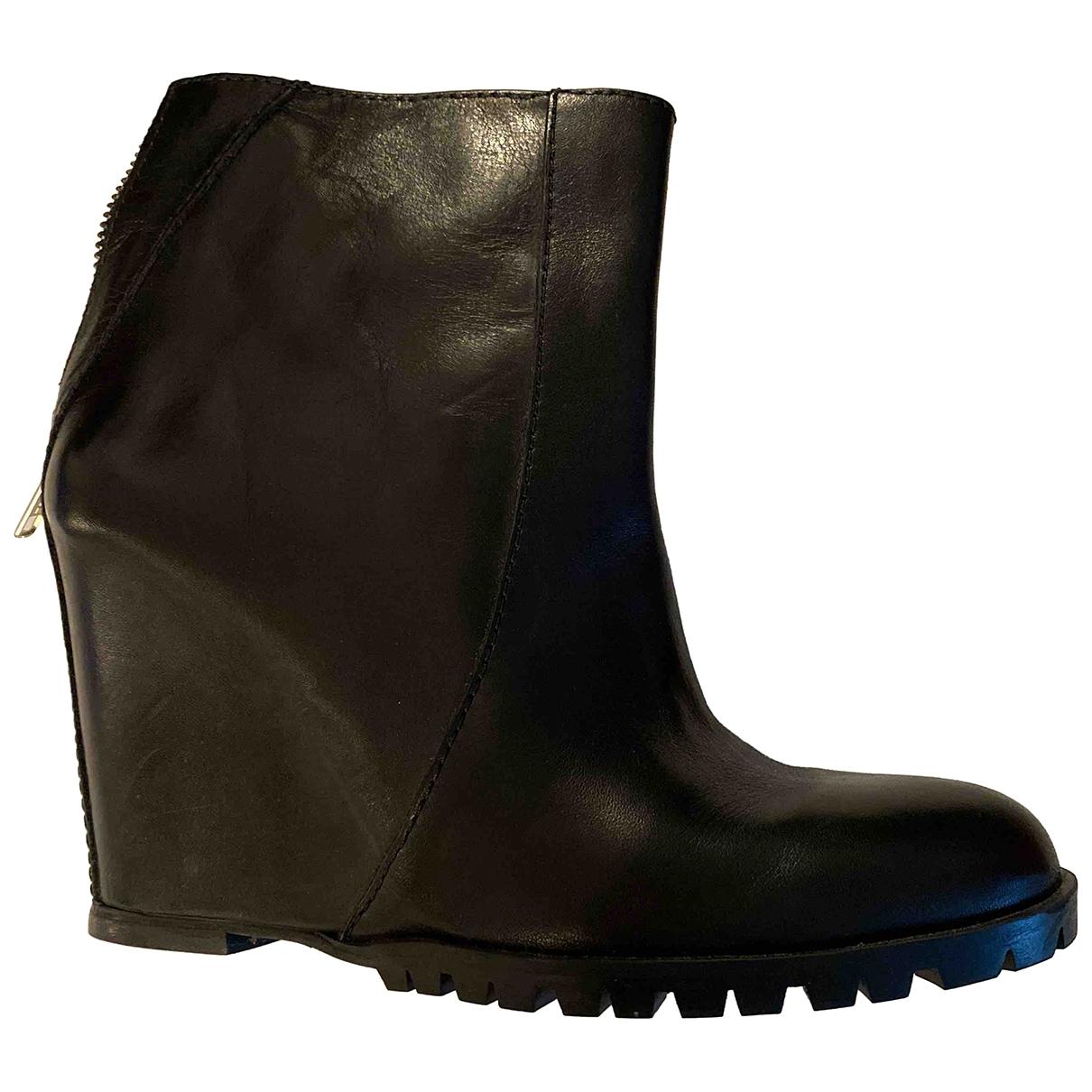 Minimarket - Bottes   pour femme en cuir - noir