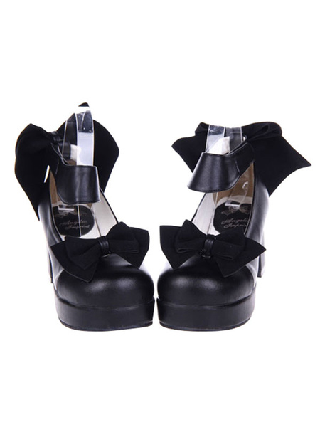 Milanoo Sweet Lolita High Heels Bow Platform Black Lolita Shoes