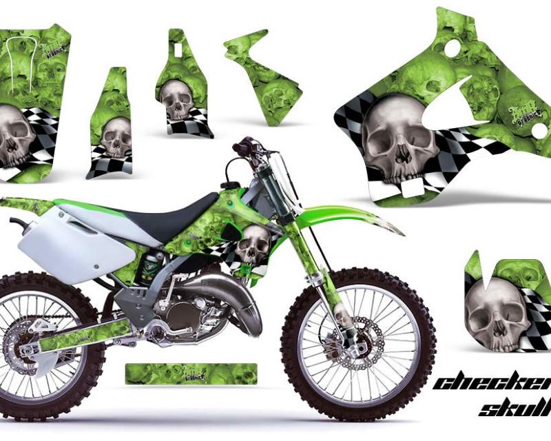 AMR Racing Dirt Bike Graphics Kit Decal Wrap For Kawasaki KX125   KX250 1994-1998áCHECKERED SILVER GREEN