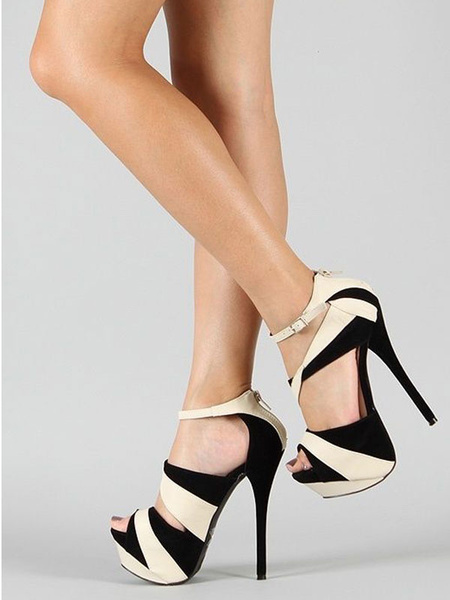 Milanoo High Heel Sandals Women Sexy Shoes Black Peep Toe Platform Sandal Shoes