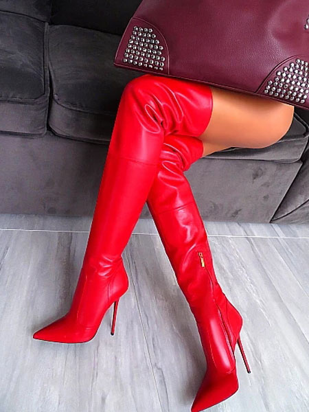 Milanoo Red Thigh High Boots Pointed Toe High Heel Over The Knee Boots Women Sexy Boots