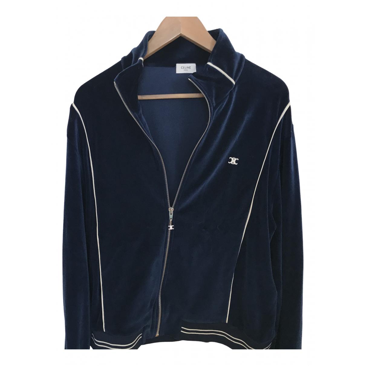 Celine \N Pullover.Westen.Sweatshirts  in  Blau Baumwolle