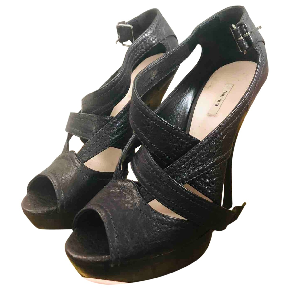 Miu Miu \N Black Leather Heels for Women 36.5 EU
