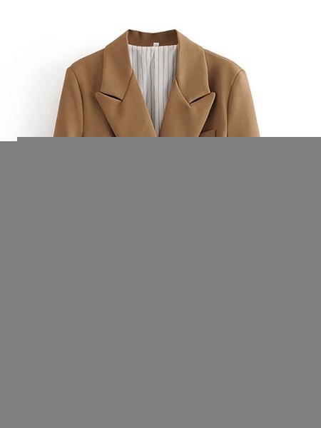 Milanoo Blazer para mujer Blazers con cordones de manga larga con cuello vuelto