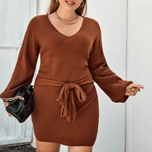 Plus V-neck Tie Front Sweater Dress