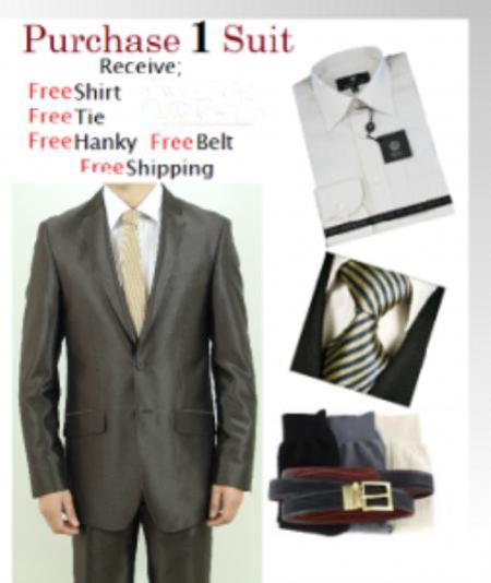 2Button Brown Teak wave Suit Shirt Free Tie and Hankie Package