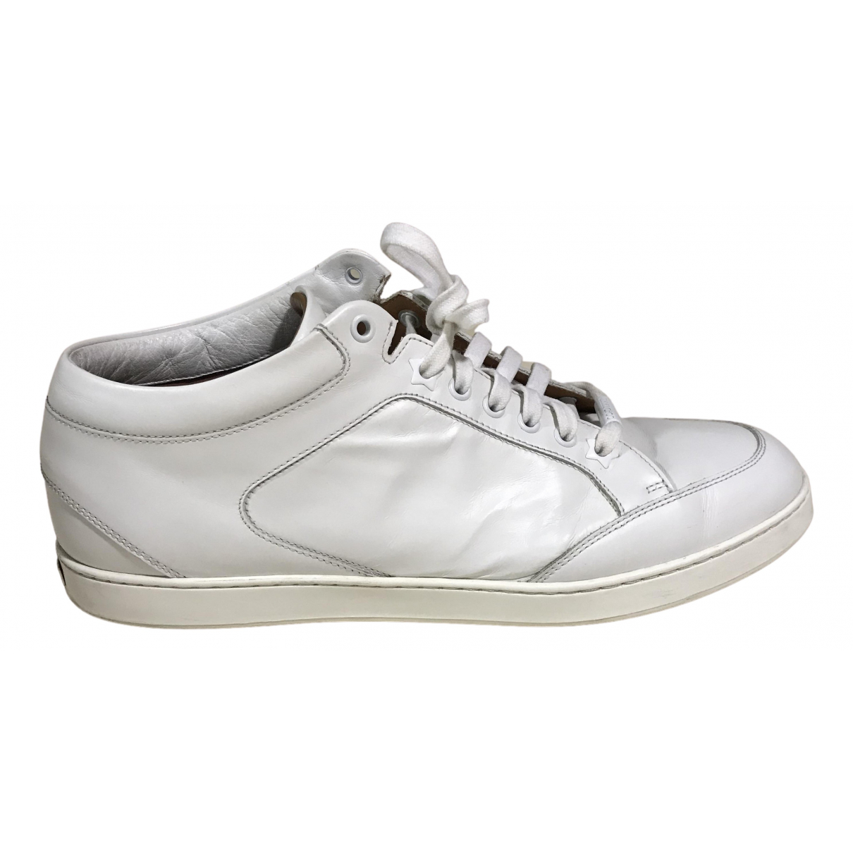 Jimmy Choo N White Leather Trainers for Women 42 IT