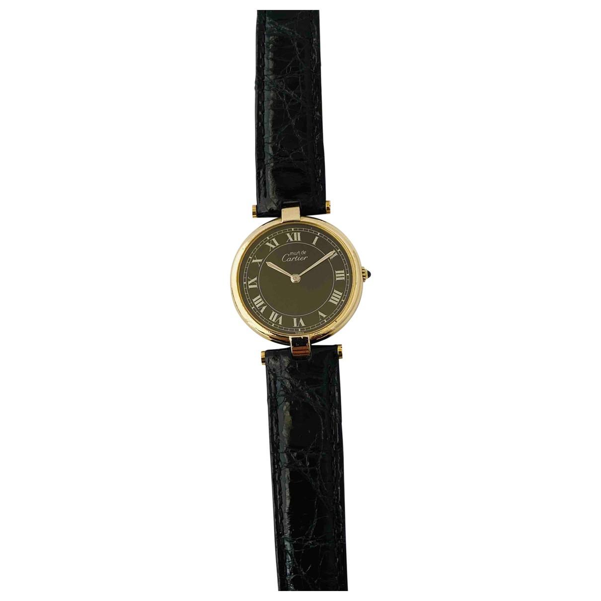 Cartier Must Vendome  Uhr in  Schwarz Vermeil