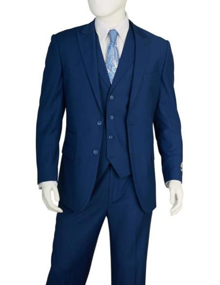 Mens 2 Buttons 3 Pieces Vested blue Suit Pleated Pants Regular Fit