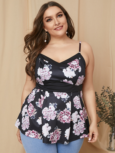 YOINS Plus Size Black Floral Print V-neck Sleeveless Cami