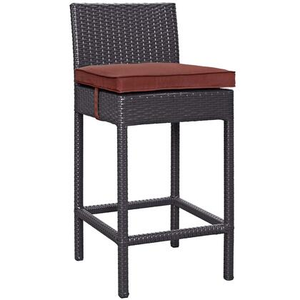 Convene Collection EEI-1006-EXP-CUR Outdoor Patio Fabric Bar Stool with All-Weather Fabric Cushion  Synthetic Rattan Weave Material  Aluminum Frame