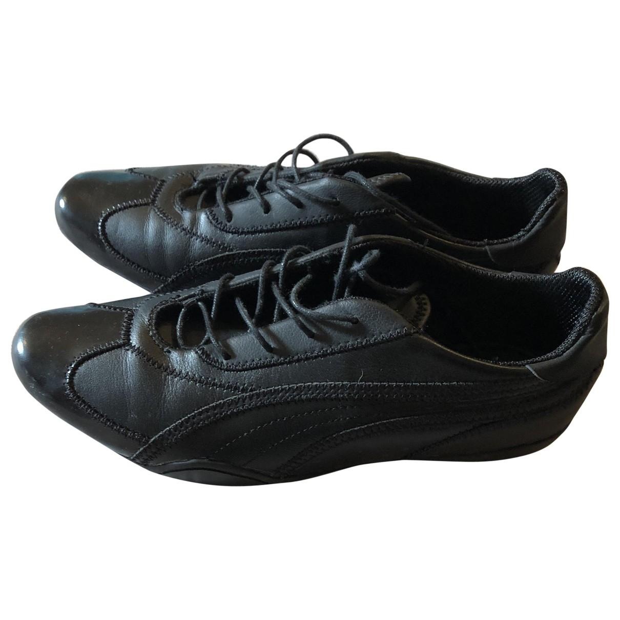 Puma \N Black Leather Trainers for Women 5 UK