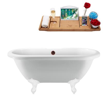 N1121WH-ORB 67 Clawfoot Tub and Tray With External Drain - Glossy