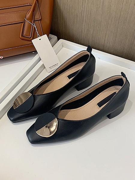 Milanoo Mid-Low Heels For Women Chic Square Toe Chunky Heel Metal Details Pretty Black Pumps Heels