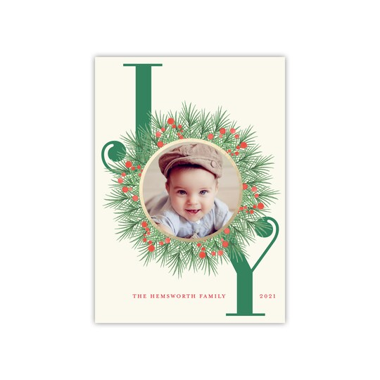 20 Pack of Gartner Studios® Personalized Joy Wreath Flat Foil Holiday Photo Card in Ivory | 5