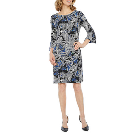 Liz Claiborne 3/4 Bell Sleeve Paisley Puff Print Shift Dress, 6 , Blue