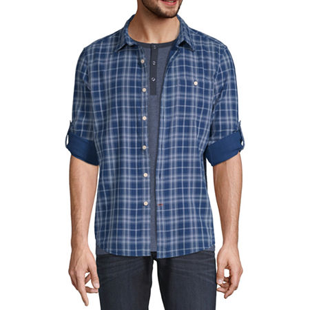 St. John's Bay Outdoor Double Cloth Mens Long Sleeve Plaid Button-Down Shirt, Xx-large , Blue