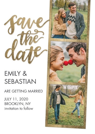 Save the Date 5x7 Cards, Premium Cardstock 120lb with Elegant Corners, Card & Stationery -Save the Date Filmstrip Gold