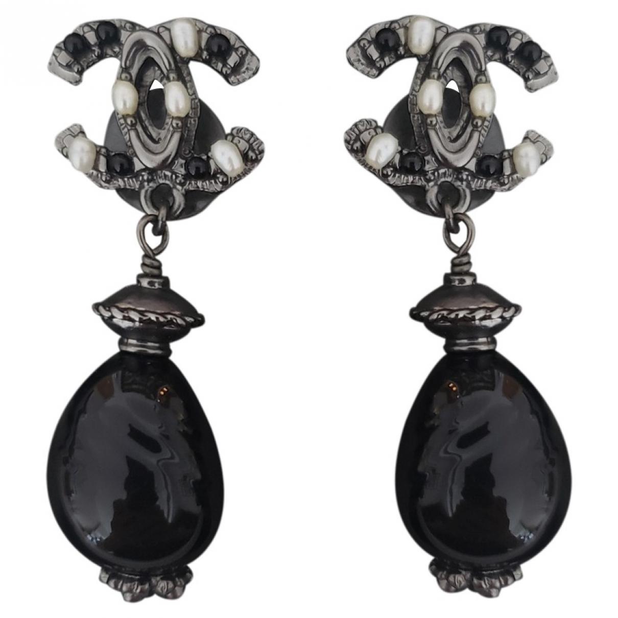 Chanel CC Black Metal Earrings for Women \N