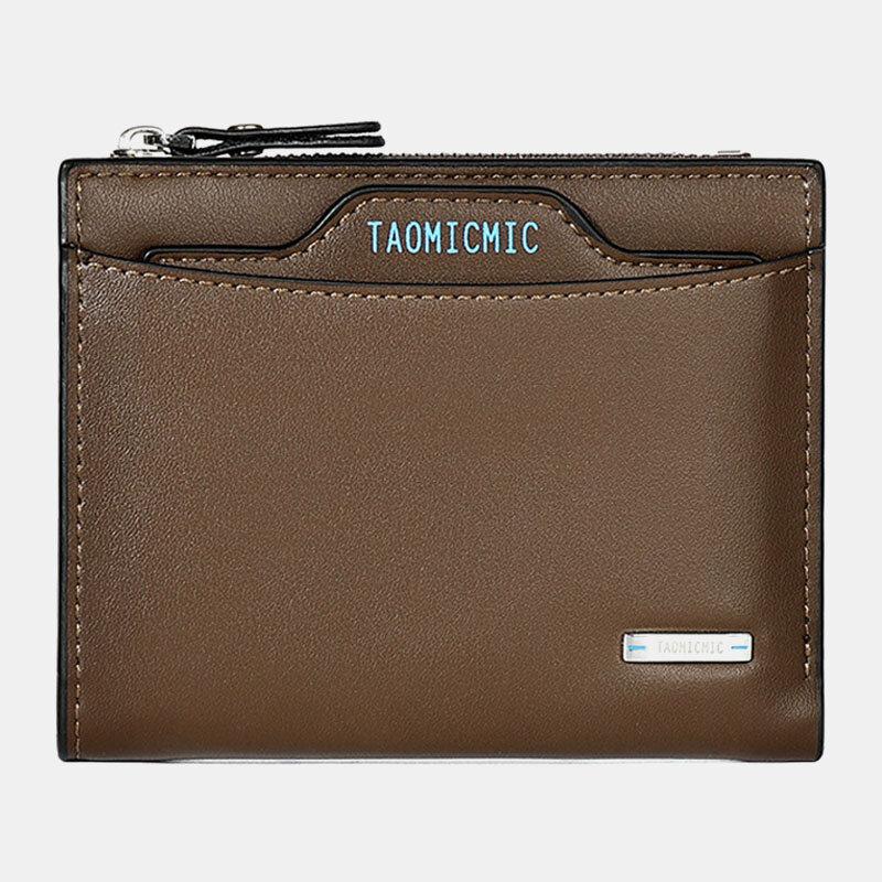 Men 9 Card Slots Zipper Detachable Short Wallet