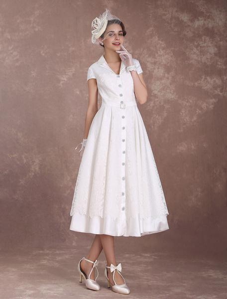 Milanoo Vestido de novia retro con manga corta hasta la pantorrilla de linea A Jardin