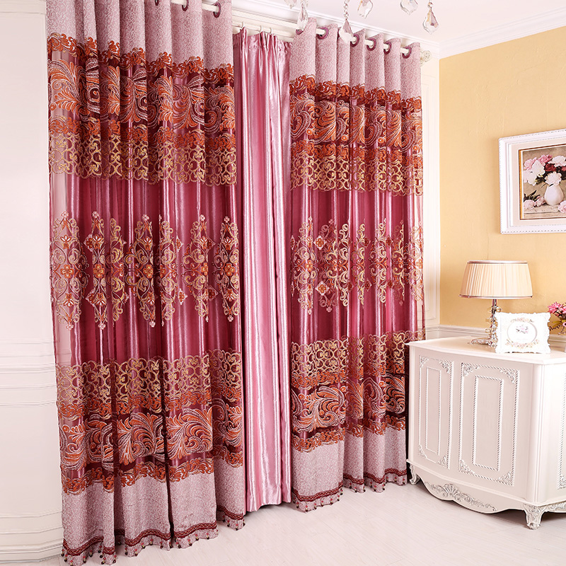 Polyester Material Floral Pattern Decoration Feature European Style Curtain Sets