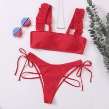 Bikini Badeanzug mit Rueschenbesatz und seitlichem Band