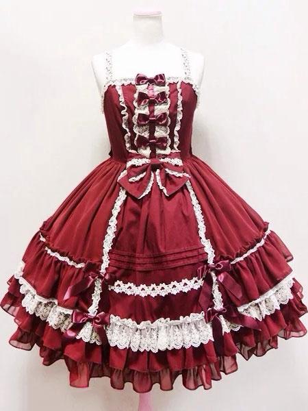 Milanoo Rococo Lolita Dress JSK Lace Trim Ruffles Pleated Bow Lolita Jumper Skirt