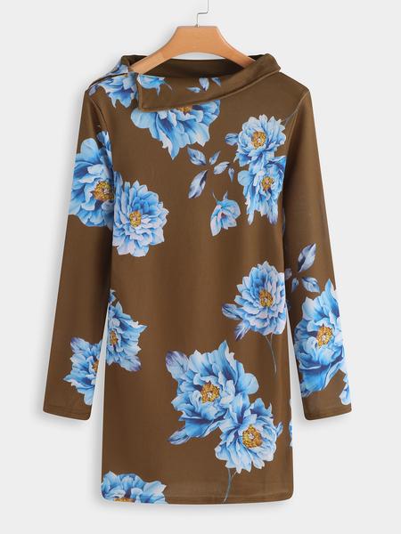 Yoins Brown Random Floral Print Short Sweatshirt Dress