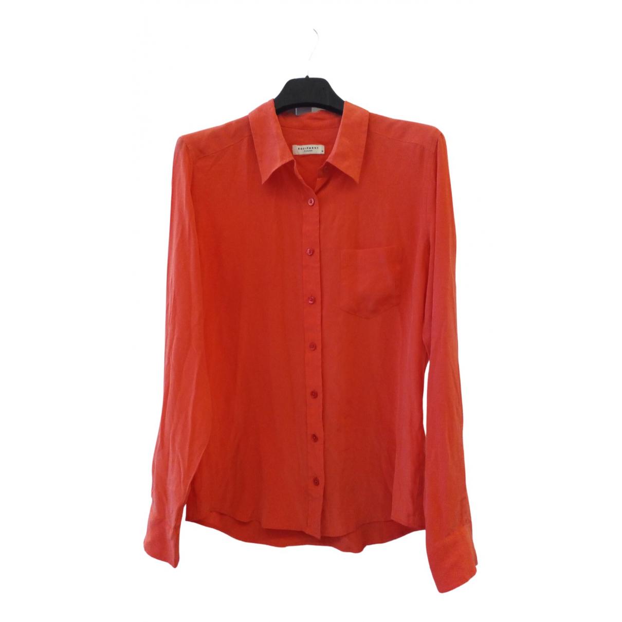 Equipment - Top   pour femme en soie - rouge