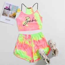 Tie Dye Letter Cami & Dolphin Shorts Set