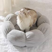 Einfarbiges Katzenbett mit Krapfen Design