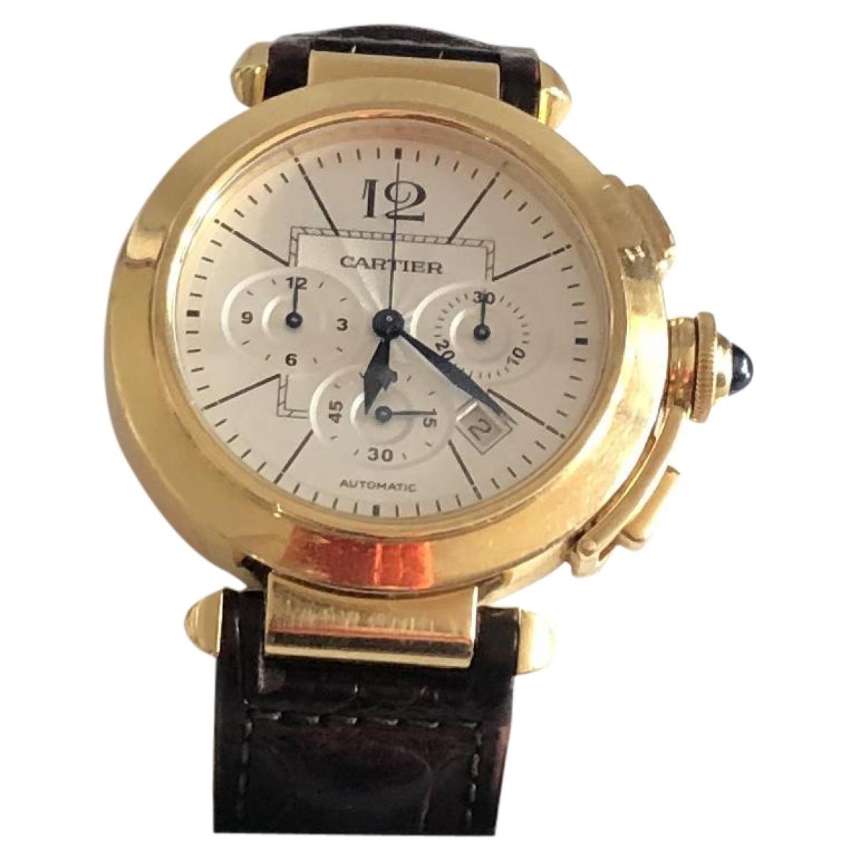 Cartier - Montre Pasha Chronographe pour homme en or jaune - dore