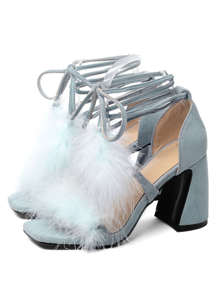 Milanoo High Heel Sandals Womens Lace Up Open Toe Flared Heel Sandals with Feather