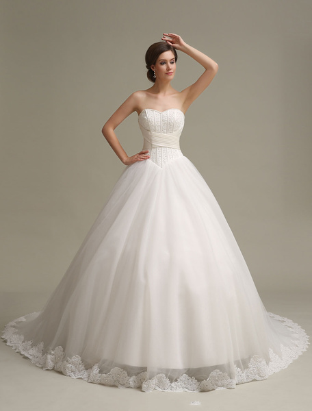 Milanoo Princess Wedding Dresses Ball Gowns Strapless Lace Applique Pleated Dropped Waist Bridal Dresses Long Train