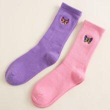 2 Paare Socken mit Schmetterling Stickereien