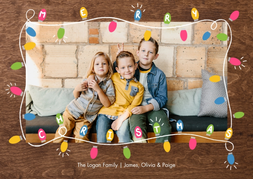 Christmas Photo Cards 5x7 Cards, Premium Cardstock 120lb with Rounded Corners, Card & Stationery -Christmas Festive Colorful Lights by Tumbalina