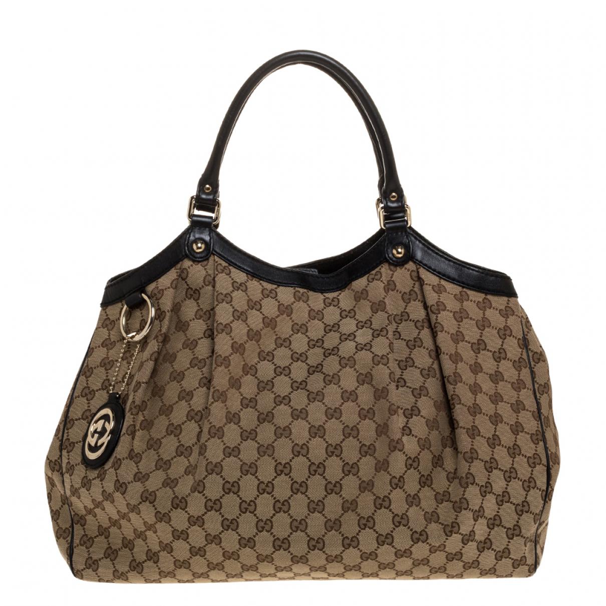 Gucci Sukey Handtasche in  Beige Leder