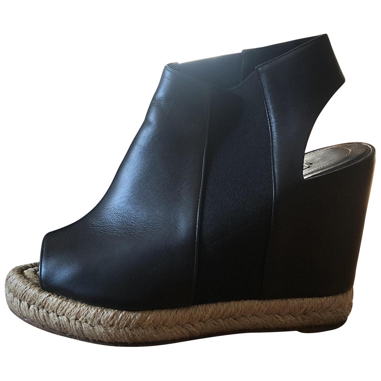 Balenciaga - Espadrilles   pour femme en cuir - noir