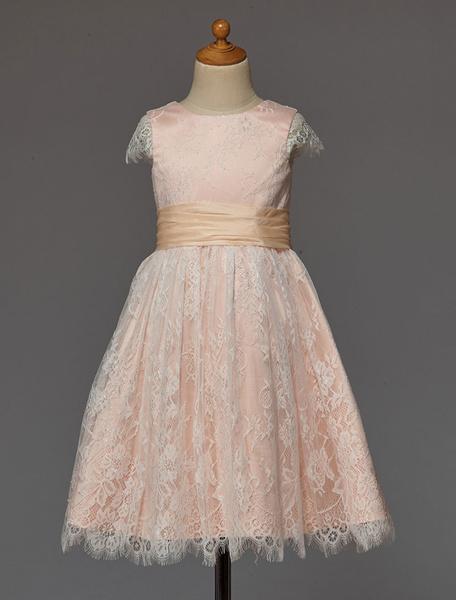 Milanoo Vestido de damitas de encaje con escote redondo y lazo