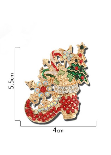 Mother's Day Gifts Christmas Design Rhinestone Detail Red Brooch - One Size