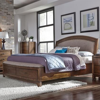 Avalon 705-BR-KSB King Size Upholstered Storage Bed with Framed Drawer Fronts  Upholstered Headboard  Clean Lines Soft Shapes in Pebble Brown
